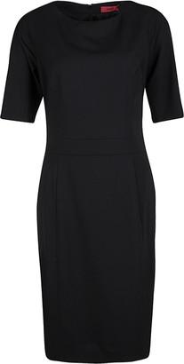 HUGO BOSS by Black Wool Short Sleeve Koletta Dress S