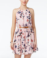 Amy Byer Juniors' Pleated Floral-Print Shift Dress