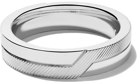 De Beers 18kt white gold Promise half textured band