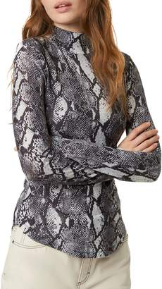 French Connection Animal-Print Mockneck Top