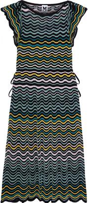 M Missoni Bow-detailed Striped Crochet-knit Cotton-blend Dress