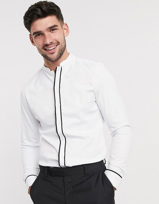 ASOS DESIGN slim fit sateen shirt with mandarin collar & contrast tipping in white