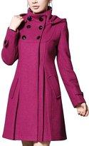 OCHENTA Women's Slim Long Wool Blends Hooded Double Breasted Trench Coat Jacket