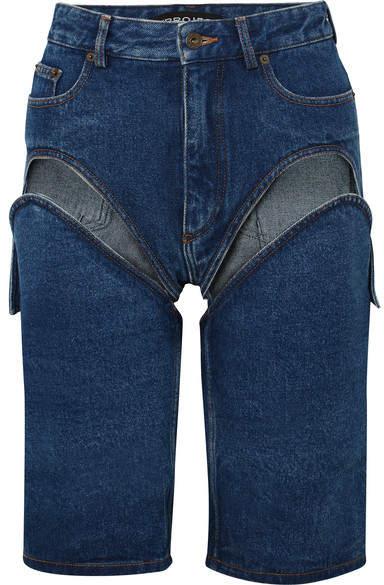 Y/Project Detachable Cutout Denim Shorts - Mid denim