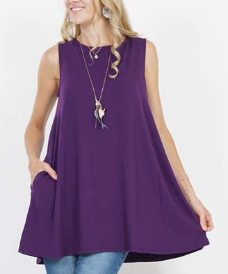 Lydiane Women's Tunics DK - Dark Purple Boatneck Sleeveless Ruffle-Hem Pocket Tunic - Women & Plus