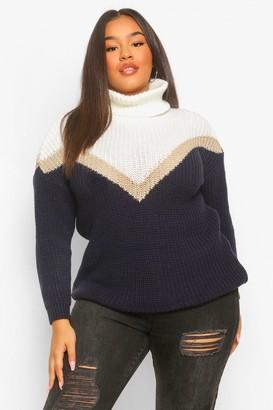 boohoo Plus Contrast Roll Neck Sweater Dress