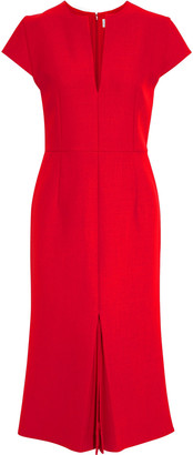 Victoria Beckham Pleated Crepe Midi Dress