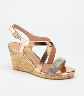 New Look Wide Fit lic Diamante Cross Strap Wedges