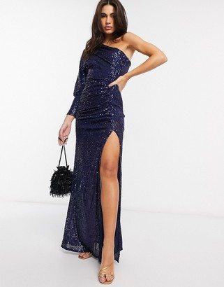 Goddiva one sleeve sequin maxi dress in navy