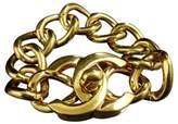Chanel Gold-Tone Metal Thick Chain CC Logo Coco Mark Bracelet