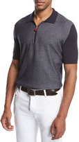 Kiton Nailhead Zip-Front Polo Shirt, Navy