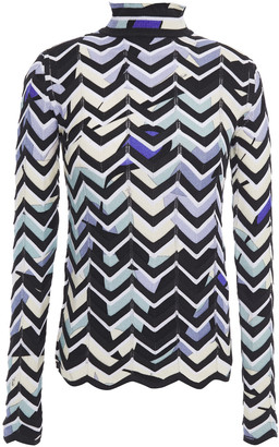 Emilio Pucci Pointelle-trimmed Intarsia Wool-blend Sweater