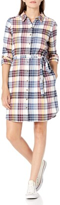 Goodthreads Amazon Brand Women's Flannel Relaxed Fit Belted Shirt Dress