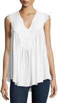 Romeo & Juliet Couture Lace-Embroidered V-Neck Tank Top, Ivory
