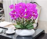 Artificial Flower SituMi SituMi Artificial Fake Flowers orchid rattan rose bouquet of ceramic vases potted plants,pink white