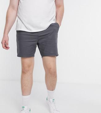 ASOS DESIGN Plus slim chino shorts with elastic waist in dark grey