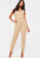 Missguided Nude High Neck Cross Lace Romper
