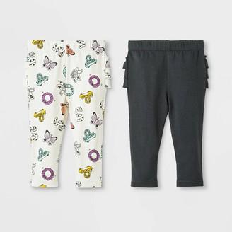 Cat & Jack Baby Girls' 2pk Ruffle Leggings Pants Set - Cat & JackTM Cream/Dark Gray 18M