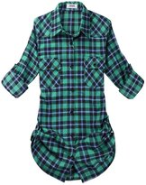 OCHENTA Women's Mid Long Style Roll Up Sleeve Plaid Flannel Shirt Label 2XL - US M+