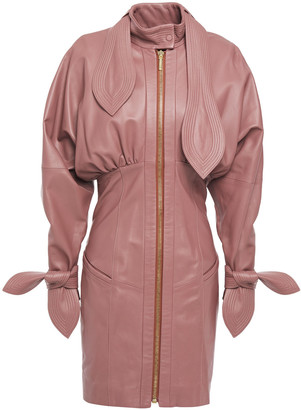 Zimmermann Tie-neck Gathered Leather Mini Dress