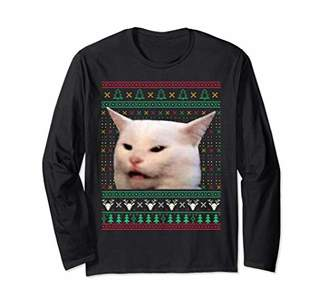 Woman Yelling At A Cat Meme Ugly Christmas Sweaters Funny Long Sleeve T-Shirt