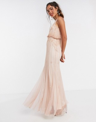 Frock and Frill overlay embellished maxi dress with fishtail in pink