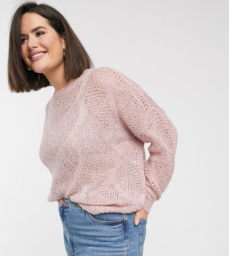 Only Curve open knit jumper in blush