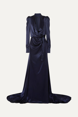 Ong-Oaj Pairam - Tammy Gathered Silk-satin Wrap Gown - Navy