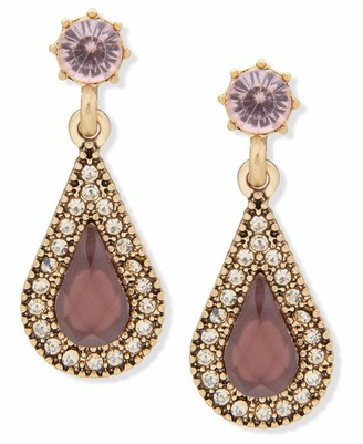 lonna & lilly Post Stone Drop Earrings Gold And Burgundy