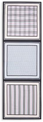 Burberry TB Monogram Icon Stripe & Check Print Silk Scarf