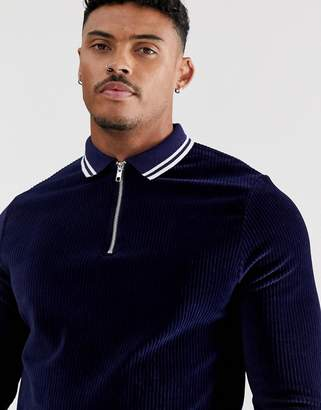 Asos Design DESIGN long sleeve polo shirt with zip neck in ribbed velour with contrast tipping-Navy