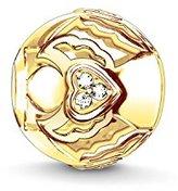 Thomas Sabo Women-Bead Guardian angel with heart Karma Beads 925 Sterling Silver 18k yellow gold plating Zirconia white K0223-414-14