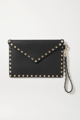 Valentino Garavani Rockstud Textured-leather Pouch - Black