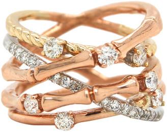 London Fine Jewelry 14K Tri-Tone 0.79 Ct. Tw. Diamond Half-Eternity Ring