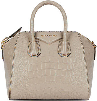 Givenchy Mini Croc Embossed Antigona Bag in Dune | FWRD