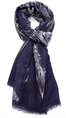 LilyRosa Angel Wings Feather Print Scarf Wrap Shawl Scarves Navy Blue Grey (Blue)