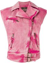 Roberto Cavalli sleeveless denim biker jacket