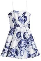 Un Deux Trois Strappy Rose Print Dress