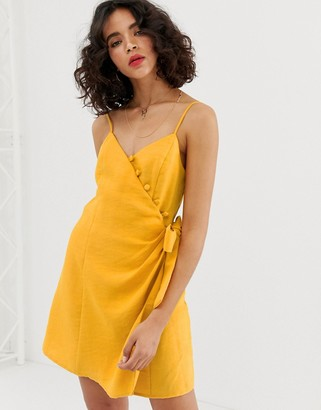 Moon River cami dress with button detail-Orange