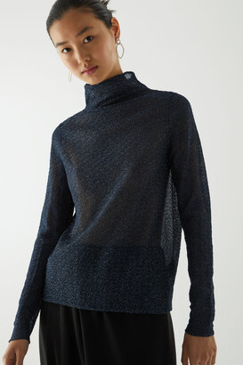 Cos Polo Neck Lurex Top