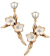 Shaun Leane Women's Diamonds and Vermeil Ivory Enamel Rose Gold Sterling Silver Cherry Blossom Small Branch Earrings