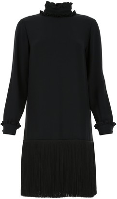 Prada High-Neck Fringe Dress