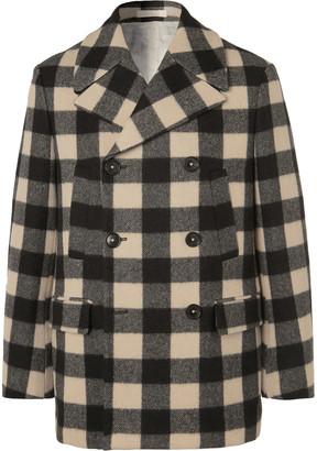 Massimo Alba Bellagio Checked Wool-Blend Peacoat