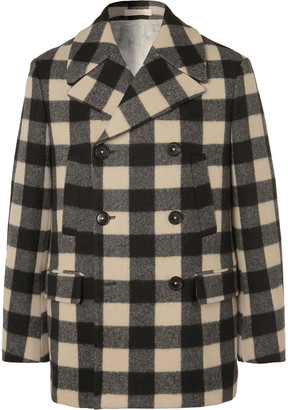 Massimo Alba Bellagio Checked Wool-blend Peacoat - Black