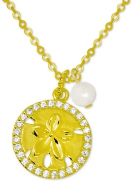 """Kona Bay Crystal Starfish & Freshwater Pearl (6mm) Pendant Necklace in Gold-Plate, 16"""" + 2"""" extender"""