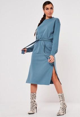 Missguided Blue Basic Tie Belt Midi Sweater Dress