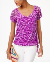 INC International Concepts Petite Printed Tie-Hem Top, Only at Macy's