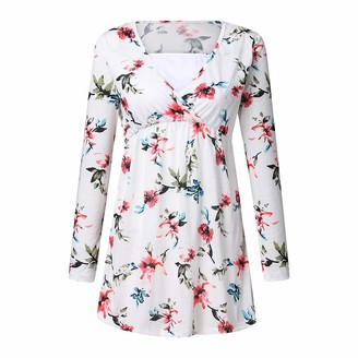 Arestory Women's Maternity Tops Ladies Long Sleeve Pregnancy Wrap Blouse Floral Print Nursing Breastfeeding Baby Top Pregnant Pullover Crew Neck Stretchy Sweatershirt Clothes Soft Jumper Outwear