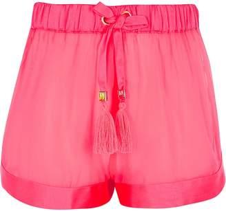 River Island Girls neon pink sheer beach shorts