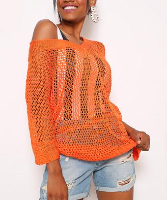 Misell Women's Swimsuit Coverups ORANGE - Orange Mesh Three-Quarter Sleeve V-Neck Wool-Blend Cover-Up - Plus